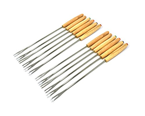 Antrader Set of 12 Stainless Steel Cheese Fondue Forks, Barbecue Skewers Marshmallow Roasting Sticks with Heat Resistant Oak Wood Handle 9.4'' Long by Antrader