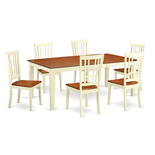 East West Furniture QUNI7-WHI-W 7 Piece Kitchen Table and 6 Chairs Dinette
