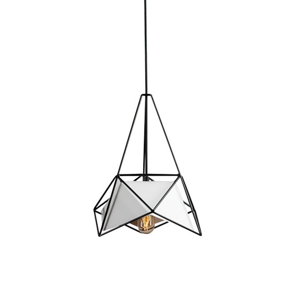 シャンデリア 業界天井ライトペンダントライト吊りランプ照明器具用キッチンレストランバーリビングルーム寝室 シャンデリアライトシェード (色 : White Lampshade, サイズ : Black frame) B07SC5Q8BP
