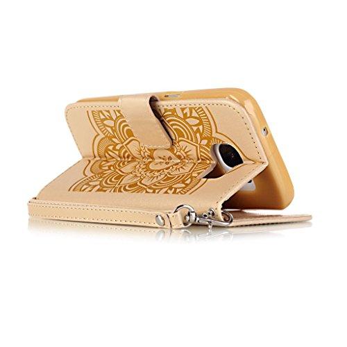 Uming® Gofrado Dreamcatcher Flor Campanula Patrón Especial de la serie de impresión colorida caja de la PU de la pistolera Caso Holster case ( White-Pink - para Samsung Galaxy S7 G930 ) de cuero artif Gold
