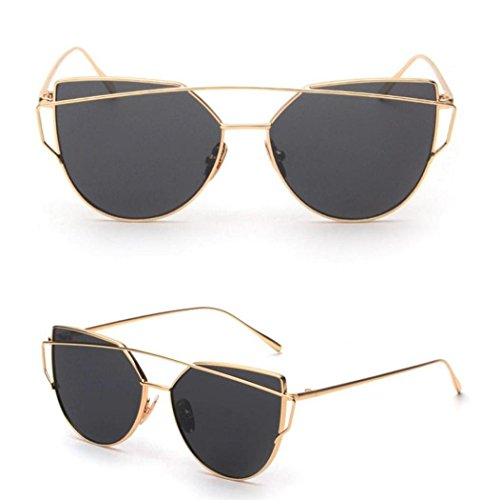 Women Fashion Twin-Beams Classic Metal Frame Mirror Sunglasses (Gold) Classic Metal Frame Sunglasses