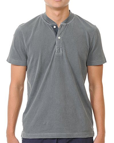 (YURO-K Men's Premium Garment Dyed Cotton Short Sleeve Polo Henley Shirt with Collar (XX-Large, Stone Pigment))