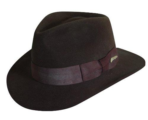 - Indiana Jones Men's Crushable Wool Felt Fedora Hat, Brown, Large