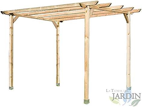 PERGOLA DE MADERA para JARDIN y PORCHE 360x360x250 cm. Presentación: 4 postes 9 x 9 x 250 cm, 2 traviesas 360 cm, 4 listones 360 cm y 4 escuadras.: Amazon.es: Bricolaje y herramientas