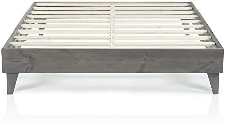 Cardinal Crest Wood Platform Bed Frame Modern Wooden Design Solid Wood Construction Easy Assembly Queen Size Grey
