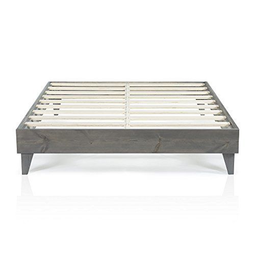 Cardinal Crest Wood Platform Bed Frame Modern Wooden Design Solid Wood Construction Easy Assembly California King Size Grey