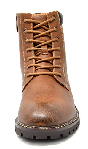 Bruno Marc Men's Stone-03 Brown Motorcycle Combat Dress Oxford Snow Boots Size 12 M US