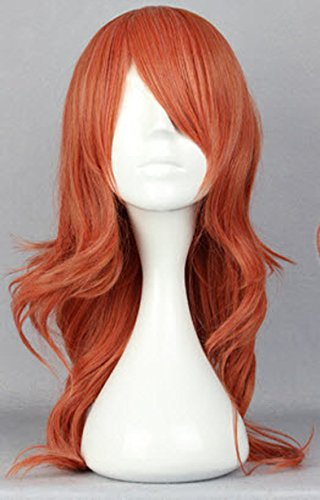 Price comparison product image SMILE Anime Final Fantasy-Oerba Dia Vanille 65cm Long Curly Orange Cosplay Wig