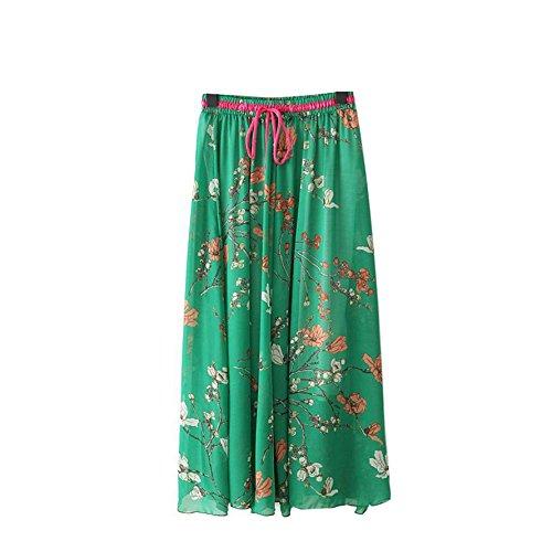 Kaxuyiiy Femmes Bohmien Fleur Oiseau 2017 Mode Taille lastique Plage fte Maxi t Jupe Longue Long Skirt Fleur de Prunier Vert