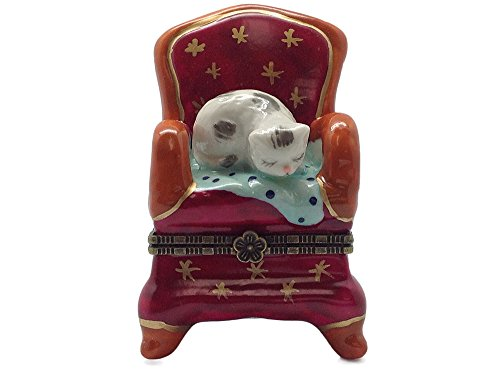 Jewelry Boxes Cat on Red Chair