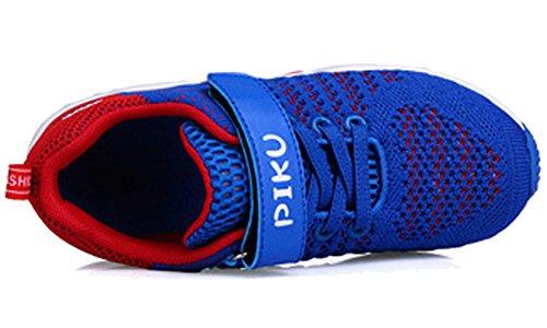 VECJUNIA Jungen Mädchen Kontrast Farbe Mesh Haken und Loop Schule Sneakers Outdoor Laufschuhe Blau