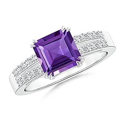 Angara Double Claw Amethyst and Diamond Twin Shank Ring in White Gold vjpjXy8m