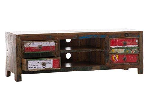 CLP TV Sideboard DIPA aus massivem recyceltem Teakholz mit 4 Schubladen, 149 x 44 cm, Höhe 50 cm bunt