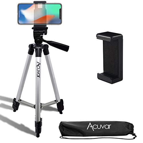 Acuvar 50″ Inch Aluminum Camera Tripod with Quick Release + Universal Smartphone Mount for iPhone 12, iPhone 12 Mini, iPhone 12 PRO Max, iPhone 11 Pro, 11 Pro Max, Xs, SE 2, Xr, X, 8, 8+ and Android