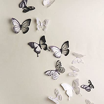 Generic 18pcs DIY 3D Butterfly Wall Stickers Art Decal PVC Butterflies by Generic Changyin-UK As Mentioned