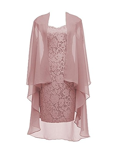 2 Pieces Dusty Pink Lace Mother Of The Bride Dress With Jacket Formal Evening Dresses Size 12