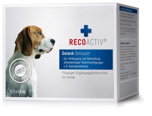 RECOACTIV Gelenk Tonicum für Hunde - Kurpackung 3x90 ml - getreidefrei - mit Grünlippmuschel (Glucosamin, Chondroitin), Teufelskralle, Weidenrinde & Schachtelhalm, Inhaltsstoffe in Humanqualität, deutsches Produkt