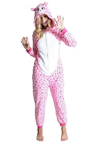 Yelete Plush Pink Leopard Animal Adult Onesie Pajama Costume, S/M