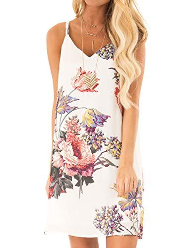 Womens V Neck Halter Strap Plus Size Dresses Beach Sundress Chrysanthemum XL