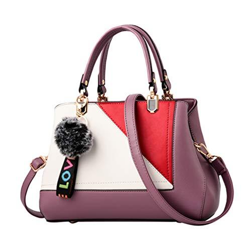 YAANCUN Handbags Shoulder Bags Womens Casual Tote Crossbody Bags Multi-functional Pocket Purple