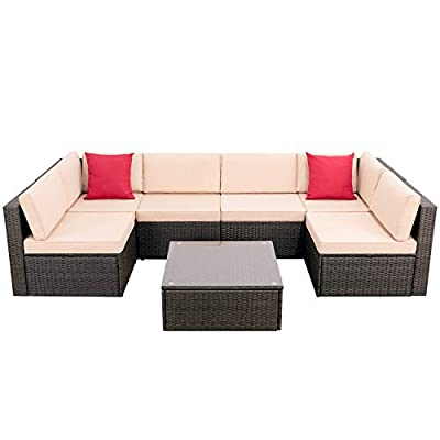 Devoko Outdoor Sectional Sofa All-Weather Patio Furniture Sets Manual Weaving Wicker Rattan Patio Conversation Sets with Cushion and Glass Table