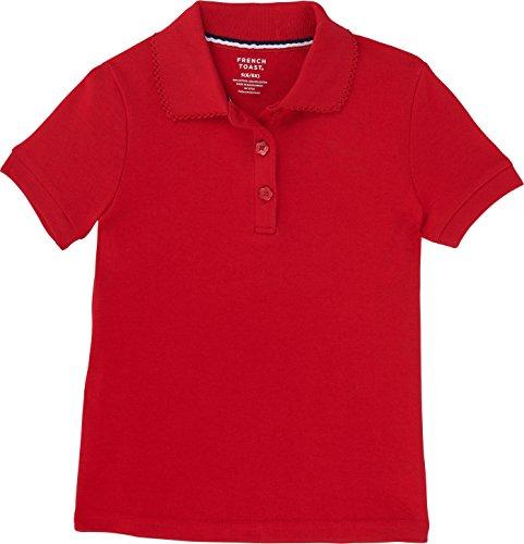 French Toast School Uniform Girls Short Sleeve Interlock Polo w/Picot Collar, Red, 2T