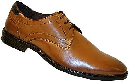New Fashion Herren BORELLI braun Leder Oxford Schuhe