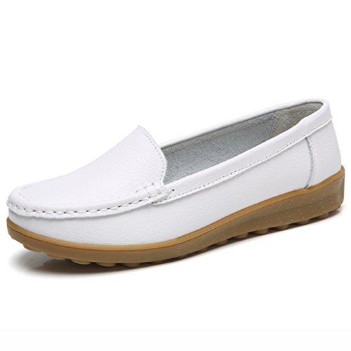 Chaussures femme HWF Chaussures Pois de Printemps Lounger Femme (Couleur : Noir, Taille : 39) Blanc