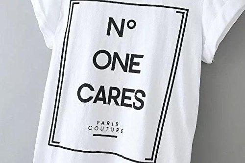 Manche Acvip Imprimé Lettre Blouse Femme T Blanc Courte Lâche Top shirt 88Tqr