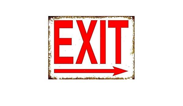 LORENZO Exit Right Arrow Vintage Metal Cartel de Chapa Pared ...