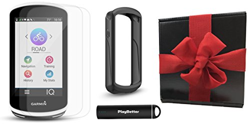 Garmin Edge 1030 Gift Box Bundle | with PlayBetter Silicone Case, Screen Protectors & Portable Charger | Bike Mounts | GPS Bike Computer | Gift Box (GPS Only, Black (Connect Garmin Gps Pc)