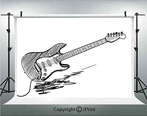 (Guitar Photography Backdrops Hand Drawn Style Electric Guitar on White Backdrop Rock Music Accords Sketch Art Decorative,Birthday Party Background Customized Microfiber Photo Studio Props,10x6.5ft,Bla)