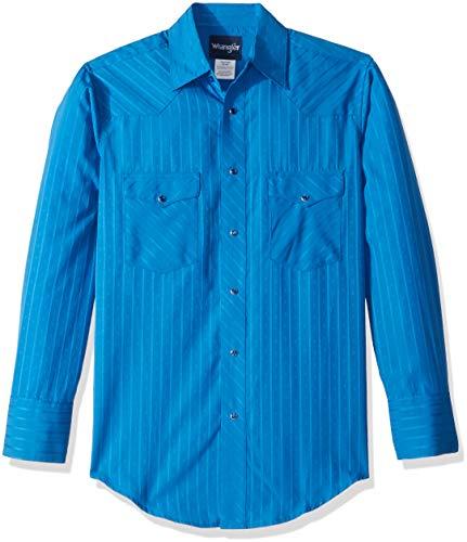 Wrangler Men's Sport Western Two Pocket Long Sleeve Snap Shirt, blue, XL