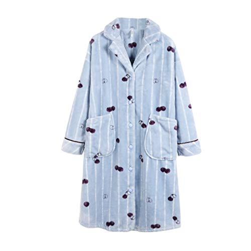 Pieza De Lindo Ropa Una Frutas Terciopelo Larga Dormir Azules Rayas Casa Camisones Blue Túnica Impresión Grueso Mujer Cálido Vestirse Pijamas Dulce Coral WHnERc