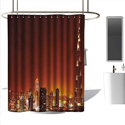 alisoso Funny Shower Curtains Landscape,Arabic Dubai Downtown with Cityscape Skyscrapers Sunset Middle East City Photo,Multicolor Bathroom Curtain with 12 Hooks W48 x L72 Inch