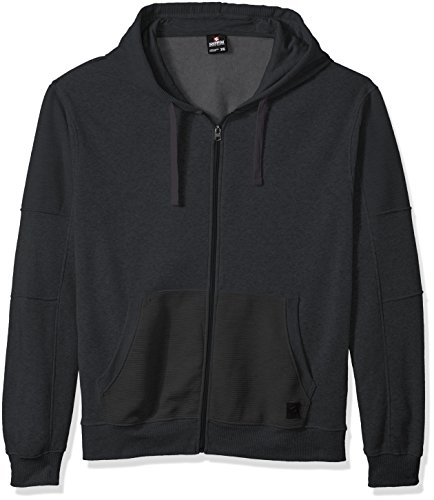 Southpole Men's Big and Tall BT Long Sleeve Fleece Hooded Fullzip With Moto Details, Heather Charcoal, 4XB