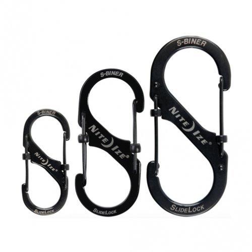 Biner Keychain - Nite Ize LSB4-11-R3 S-Biner Slide Lock Carabiner, Black, Assorted