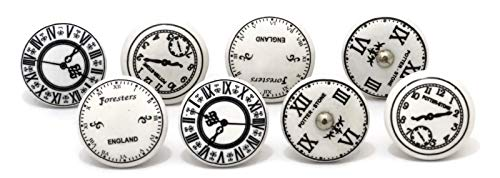 - Set of 8 Clock Design Ceramic knobs nobs Printed designes Drawer pulls for Home use perillas de cerámica perillas gabinete Clocks time