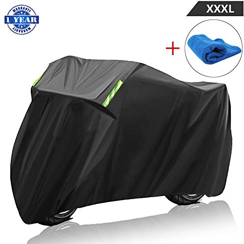 Motorcycle Cover Waterproof Outdoor XXXL Durable 210D Material Breathable Motorbike Covers with Lock-holes UV Protection Wind-proof for Harley Davidson Kawasaki Touring Sport Bike Cruiser ()
