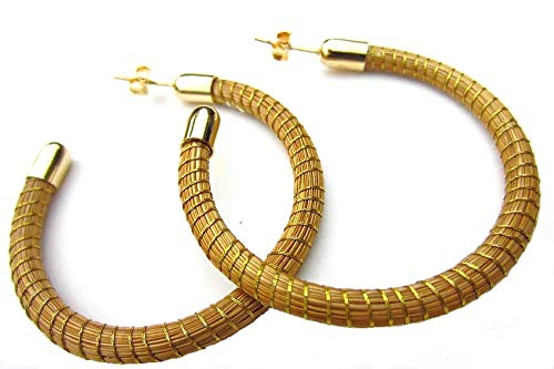Golden grass Earrings Hand-made artisan jewelry from Brazil Capim Dourado