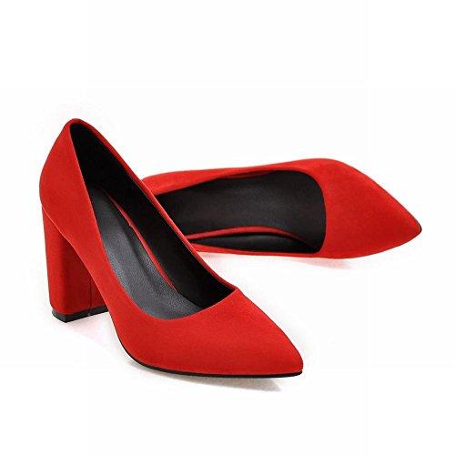 Mee Shoes Damen chunky heels spitz Nubuck Pumps Rot