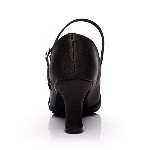 Black Shoes Black T Dance T Satin Q Customized Women's Heel Modern UwqzU
