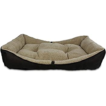 All for Paws Lambswool Bolster Pet Bed, 34 by 23-Inch, Brown