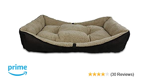 Amazon.com : All for Paws Lambswool Bolster Pet Bed, 34 by 23-Inch, Brown : Pet Supplies