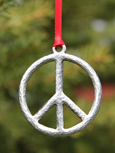 Hastings Pewter Company Lead Free Pewter Peace Sign Ornament Made in Michigan decoration