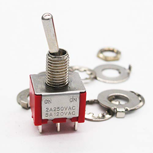 mxuteuk 8pcs MTS-202 6 Terminal 2 Position DPDT Mini Miniature Toggle Switch Car Dash Dashboard ON//ON 5A 125V 2A 250V