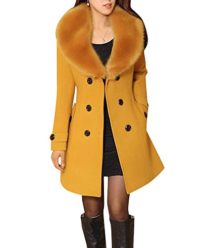 Lunga Lungo Giallo Cappotto Donne Giacca Eleganti Quge Vento Cardigan A Manica n5w8qxTvPT