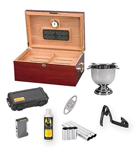Polished Cherry desk top humidor includes humidor, ashtray, lighter and accessories