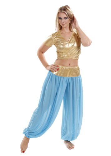 Belly Dance Top & Harem Pants Costume Set | Mako Sadek (Small/Medium, Turquoise/Gold)