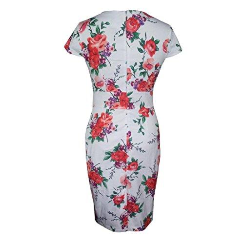 Donne Di Floreale ClodeLe Stampa Dress Moda SlimdimensioniMBianco xroCBde